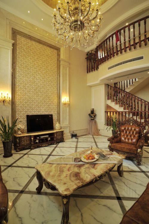 黄色大气美式风格客厅装饰案例