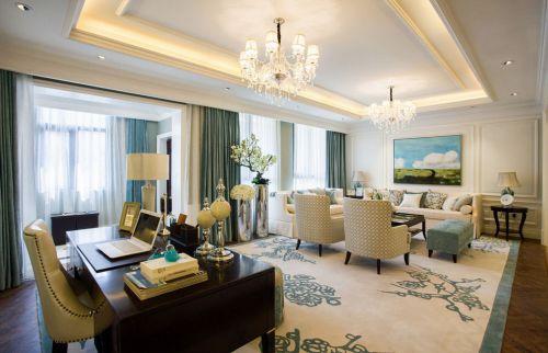 白色雅致美式风格客厅装修美图