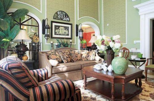 美式绿色客厅图片赏析