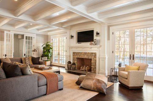 米色清新自然美式风格客厅效果图欣赏