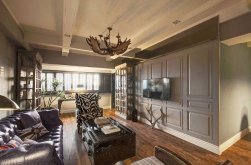 美式风格素雅灰色客厅装修美图2016