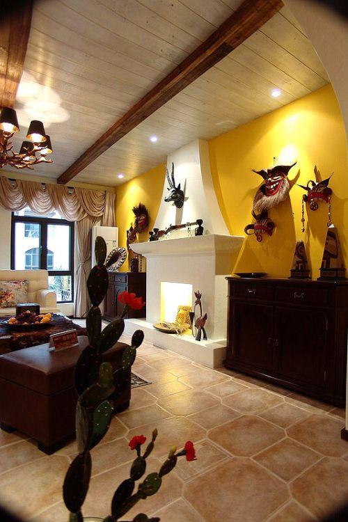 美式风格个性黄色客厅装修图片