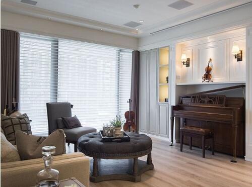文艺元素美式风格客厅装修效果图