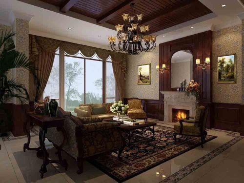 豪华美式设计客厅展示