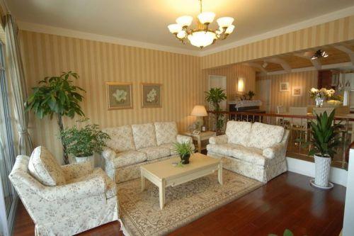 美式清新橙色客厅效果图欣赏