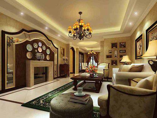 简约美式设计客厅大气装潢实例