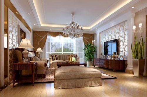 美式风格素雅米色客厅装修设计图片