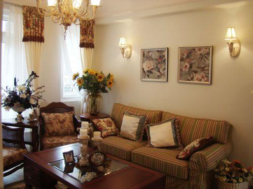 美式黄色唯美客厅装修设计图