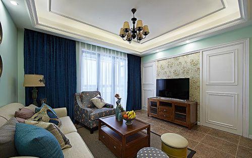 2016美式蓝色客厅装修设计欣赏