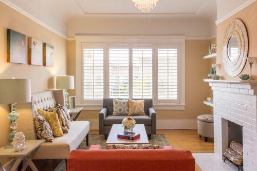 淡雅米色美式风格客厅设计装修图片