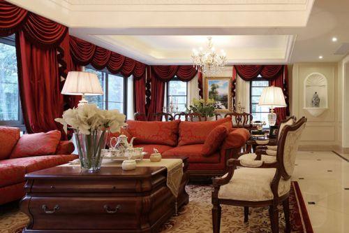 红色大气2016雅致时尚美式客厅效果图赏析