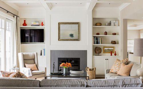 米色美式风格客厅背景墙装饰柜图片