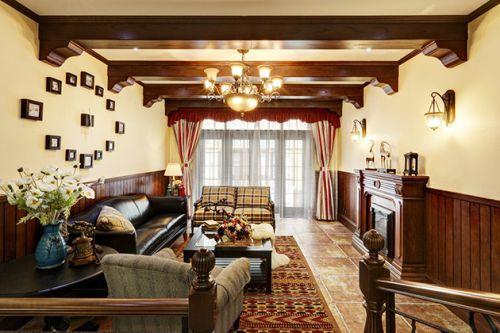 原木色古典美式客厅窗帘设计