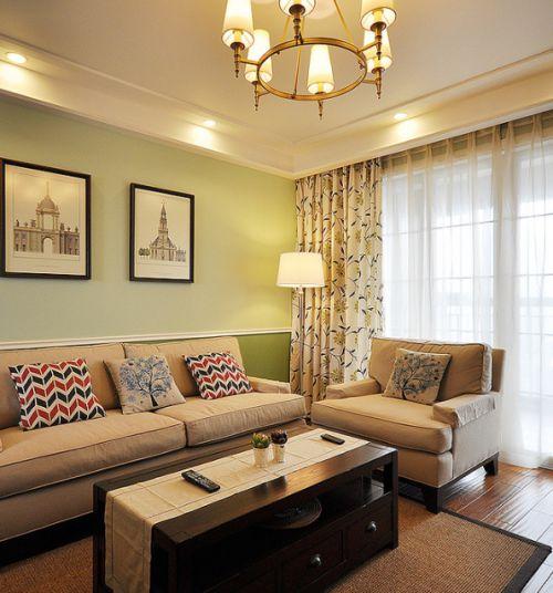 美式复古精致客厅吊顶效果图