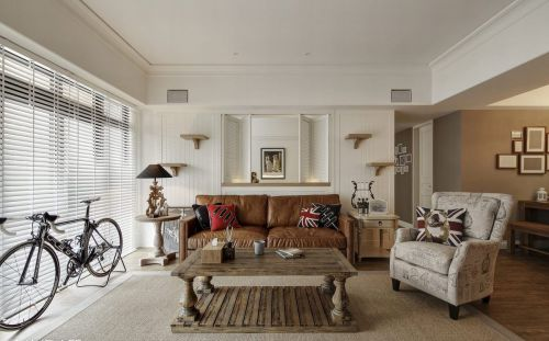 米色浪漫美式风格客厅效果图欣赏