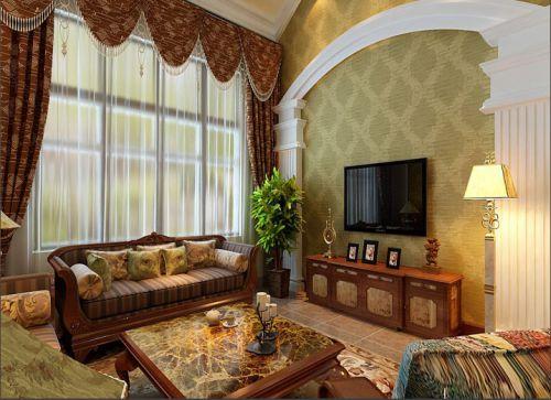 优美精致黄色美式客厅设计图