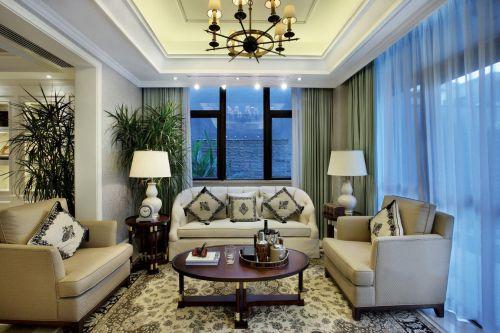 美式风格舒适米色客厅装修图片