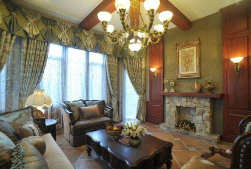 浪漫2016美式风格黄色客厅装饰图