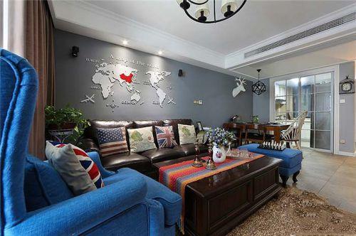 美式风格质感灰色客厅装饰图