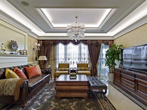 经典美式风格三居室客厅装修效果图