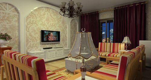 大气条纹美式风格黄色客厅设计案例