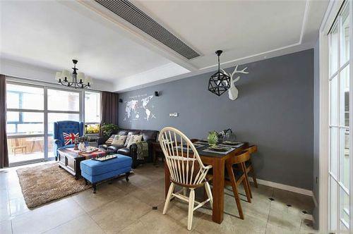 灰色质感美式风格客厅设计欣赏