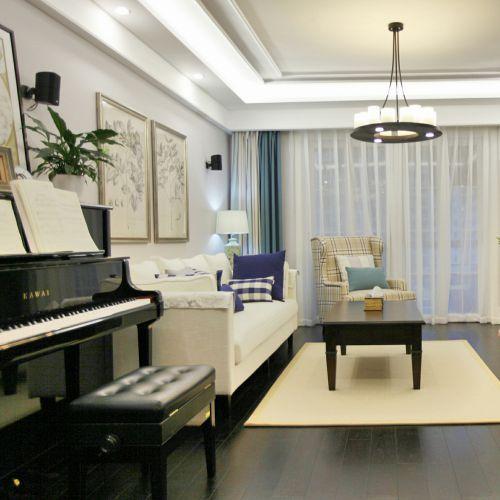 优雅美式风格白色客厅装潢设计