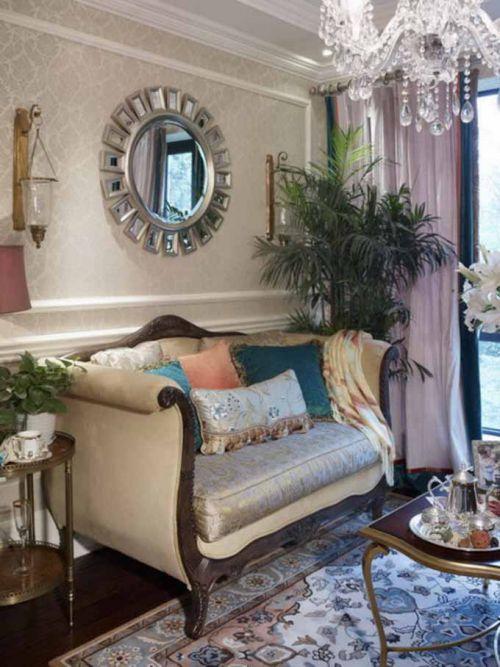 美式绿色系客厅清新装潢图片