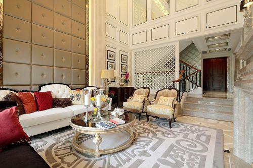 米色优雅精致美式风格客厅装潢案例