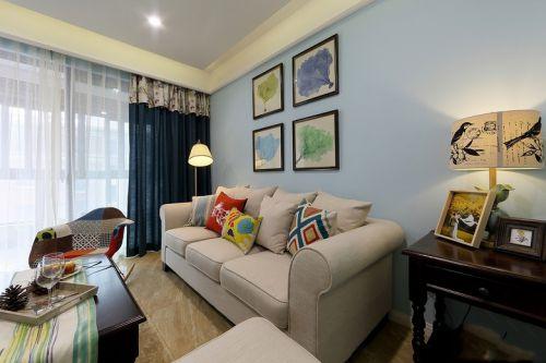 美式风格浪漫蓝色客厅装修设计图片