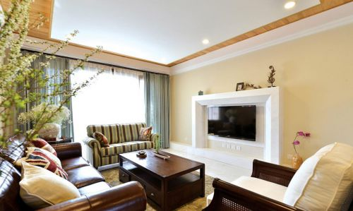 米色温馨美式风格客厅设计案例
