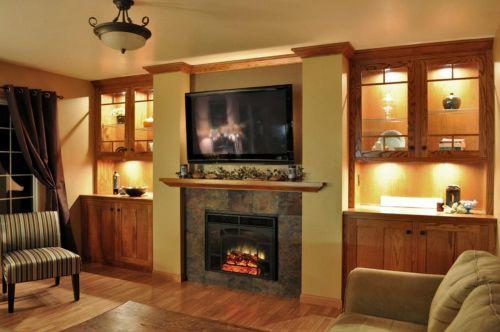 美式大气时尚原木风格客厅背景墙设计
