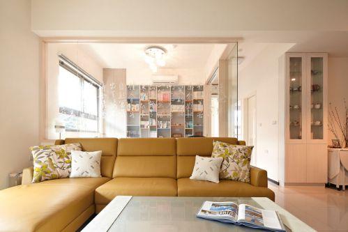 优雅清爽橙色美式风格客厅装潢装修图