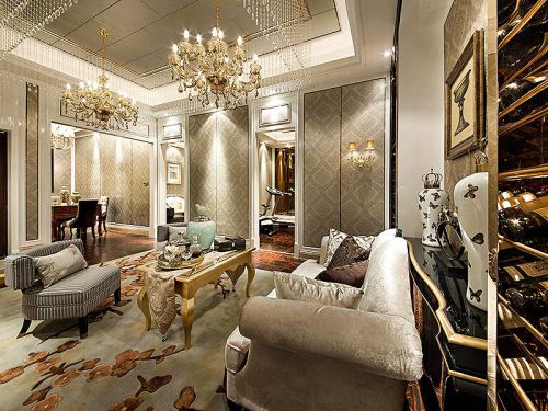 米色奢华美式风格客厅装潢设计