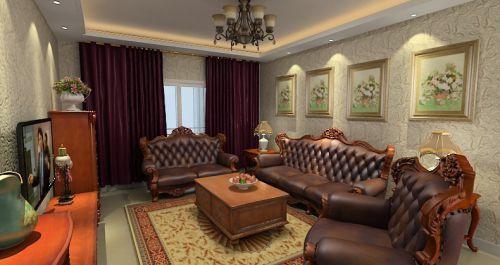美式风格个性黄色客厅装修布置