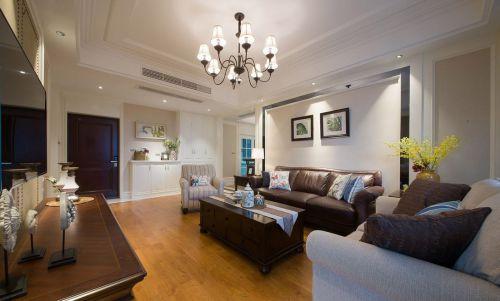 大气沉稳美式风格米色客厅效果图