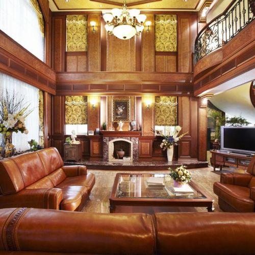 美式风格大气橙色客厅装修美图