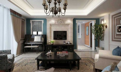 美式新古典客厅布置