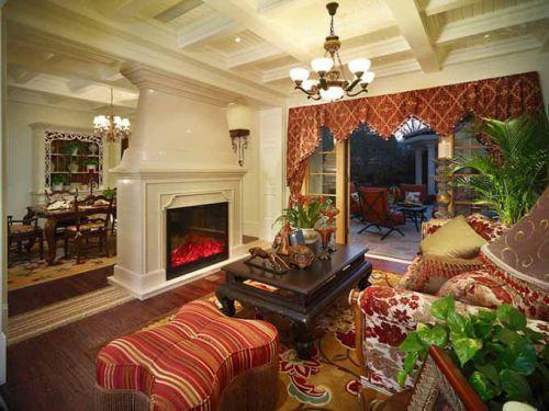 红色美式温暖客厅装修案例