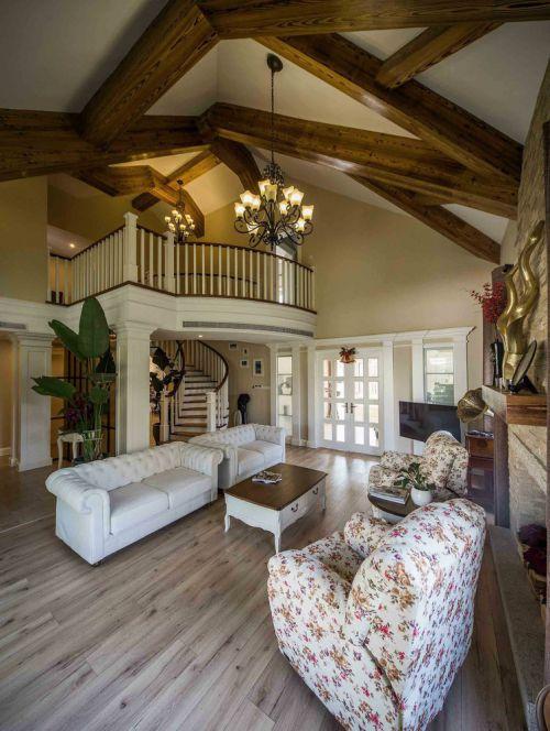 沉稳美式田园客厅装潢效果图设计