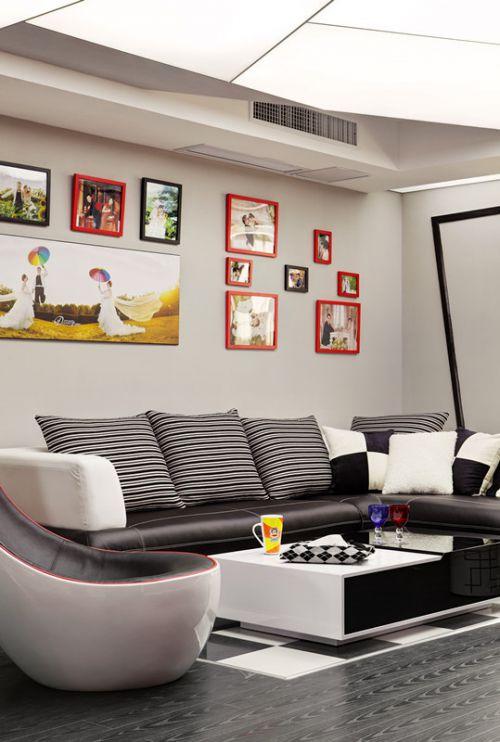 现代时尚个性混搭风格客厅照片墙装潢设计
