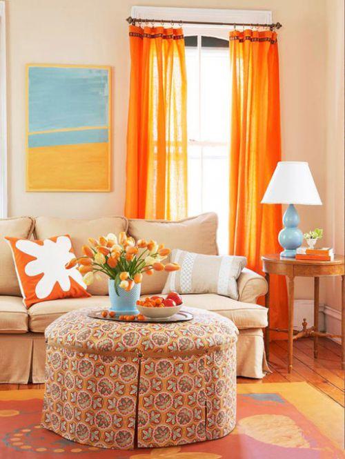 鲜艳混搭客厅窗帘设计