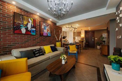 黄色热情美式风格客厅装修设计