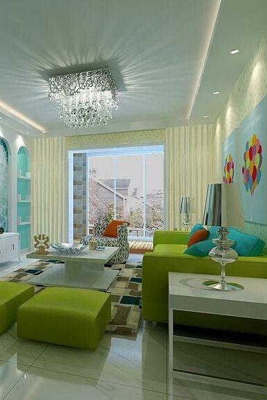 美式混搭客厅窗帘效果图