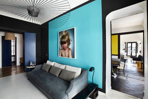 个性创意时尚混搭风格蓝色客厅装修图