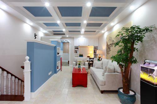 蓝色混搭风格客厅装饰设计图片