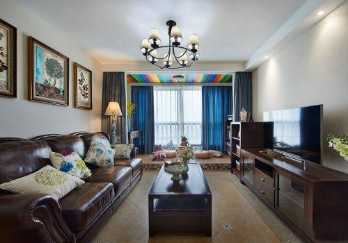 美式风格个性原木色客厅装修设计