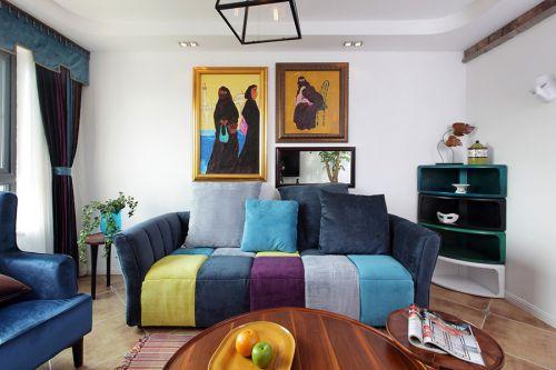 蓝色清新混搭风格客厅装修图