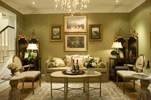 美式经典风格别墅客厅装修案例