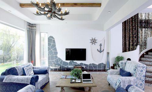 蓝色清新混搭风格客厅图片欣赏